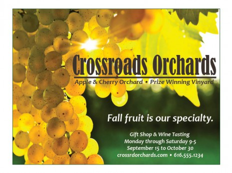 Flyer with grapes and advertising copy