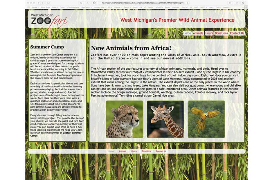 Website home page for fictional zoo.