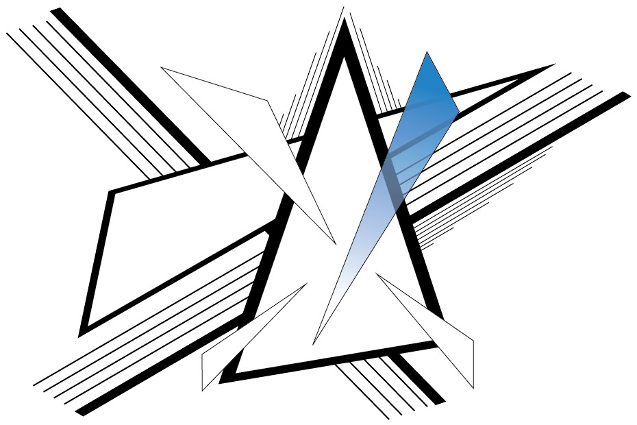 Line drawing of triangles with blue color fade
